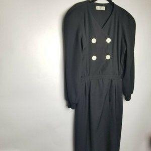VTG Valentino Miss V 44 10 black wool dress